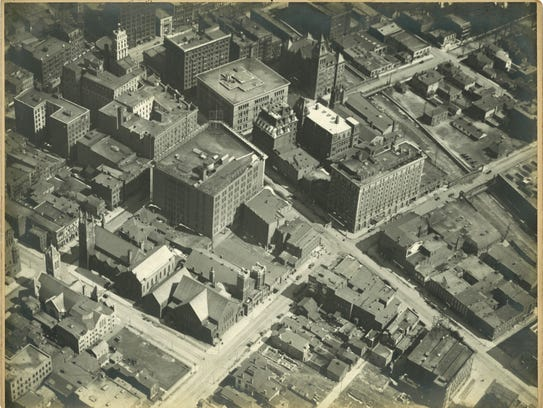 One of the aerial photographs of Rochester, shot by