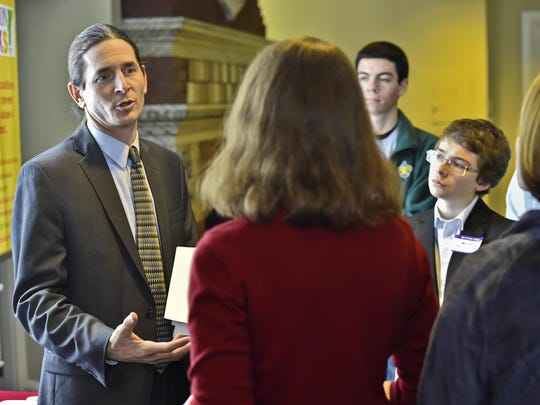 Sen. David Zuckerman, P/D-Chittenden, speaks with representatives of various groups affiliated with Prevention Works! VT at the Statehouse in Montpelier on Wednesday, Jan. 28. The group's goal is to prevent substance use in the state. Zuckerman is a proponent of marijuana legalization.