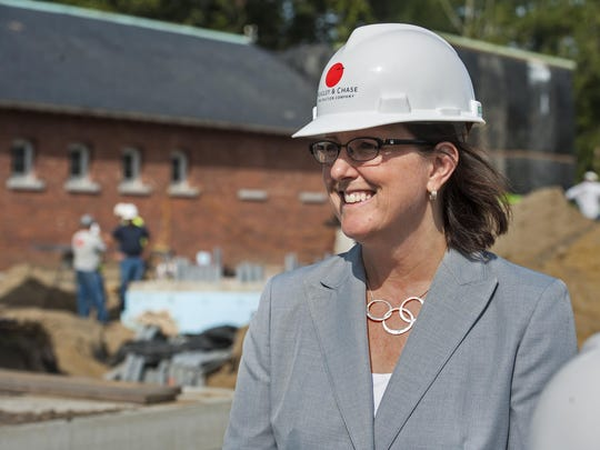 Robin Turnau, president and CEO of Vermont Public Radio, on a tour of the construction site where VPR is expanding its headquarters in Colchester on Monday.