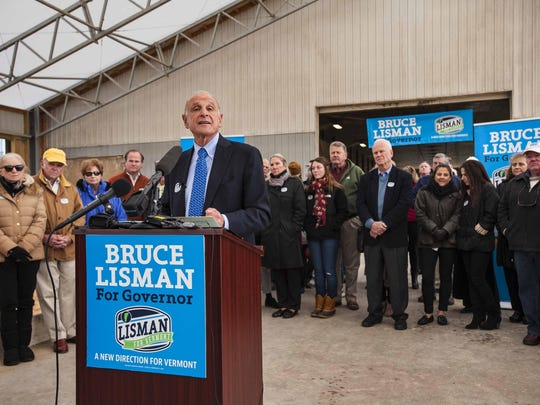 Bruce Lisman announces his candidacy seeking the Republican nomination for governor on Oct. 19 in Sheldon.