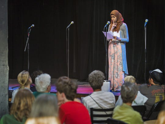 Kiran Waqar of Muslim Girls Making Change performs at ArtsRiot in Burlington on Tuesday, May 24, 2016.