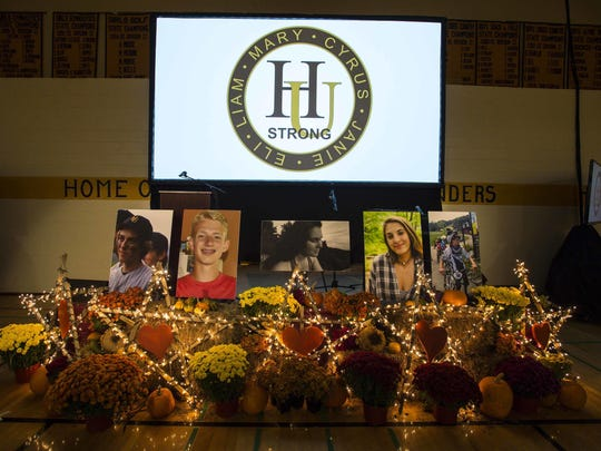 A memorial to the five teenagers who died in a head-on crash on I-89 occupied the front of the room during a celebration of their lives at Harwood Union High School in Duxbury on Oct. 24.