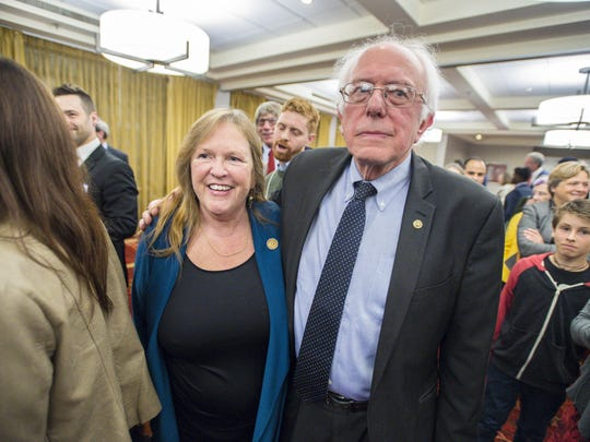 Sen. Bernie Sanders, I-Vt., and his wife, Jane Sanders, greet supporters after Sanders spoke to members of the Vermont Democratic Party in Burlington on Friday, May 5.