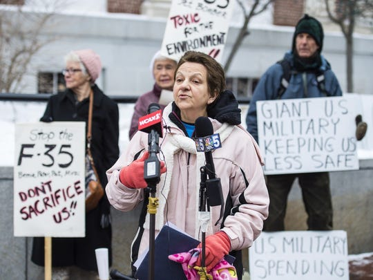 Rosanne Greco speaks as opponents of the F-35 fighter jet slated for deployment to the Vermont Air National Guard base in South Burlington hold a news conference in Burlington on Friday, January 19, 2018