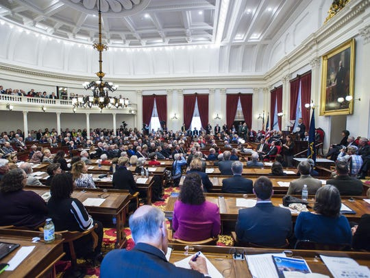 Members of the Vermont House of Representatives and Senate listen to Gov. Phil Scott's inaugural address on Thursday, January 5, 2017.