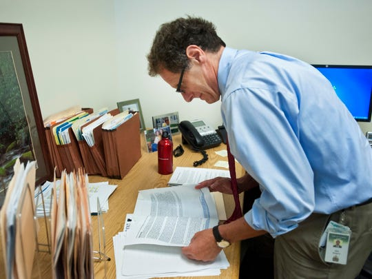 Ken Schatz, the new commissioner of the Department of Families and Children, at his temporary office at the Agency of Human Services in Williston on Thursday, September 4, 2014.