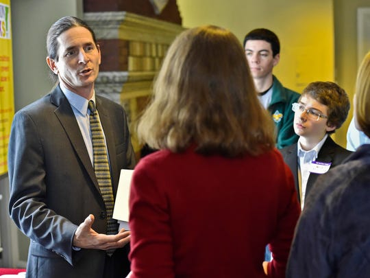 Sen. David Zuckerman, P/D-Chittenden, speaks with representatives of various groups affiliated with Prevention Works! VT at the Statehouse in Montpelier on Wednesday, January 28, 2015. The group's goal is to prevent substance use in the state. Zuckerman is a proponent of marijuana legalization.