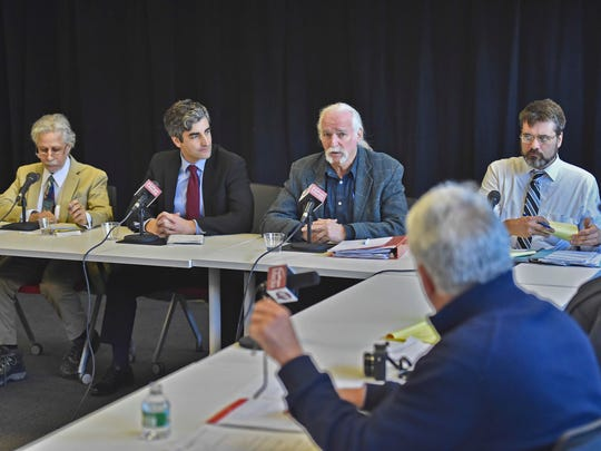 Candidates for Burlington mayor participate in a debate at the Burlington Free Press on Wednesday. From left to right are Greg Guma, independent; incumbent Mayor Miro Weinberger, Democrat; Steve Goodkind, Progressive; and Loyal Ploof, Libertarian.