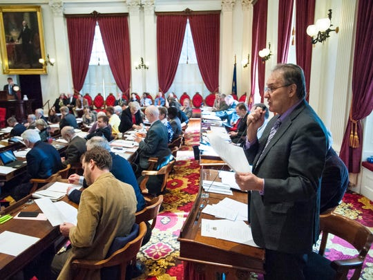 Rep. Paul Poirier, I-Barre City, explains a resolution condemning Indiana's Religious Freedom Restoration Act at the Statehouse in Montpelier on Friday. The act has been widely condemned as being discriminatory to the LGBT community.