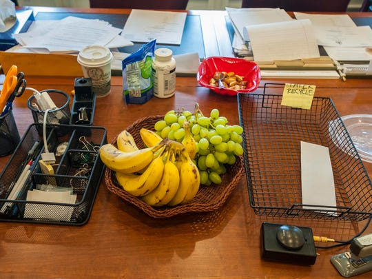 No junk food is seen on the table in the House Health Care Committee room at the Statehouse in Montpelier on Tuesday, March 31, 2015.