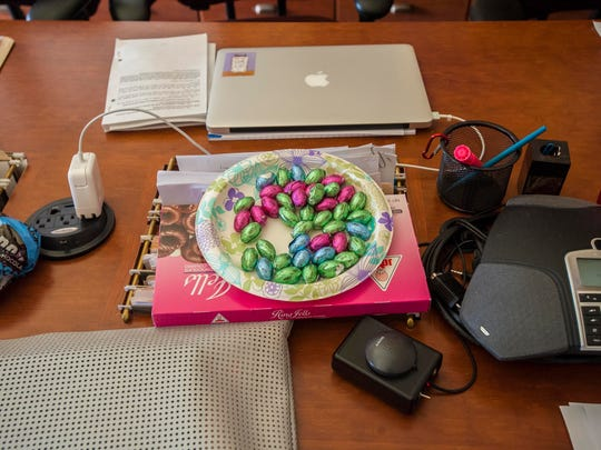 Chocolate Easter eggs sit on the table of the House Natural Resources and Energy Committee room at the Statehouse in Montpelier on Tuesday, March 31, 2015.