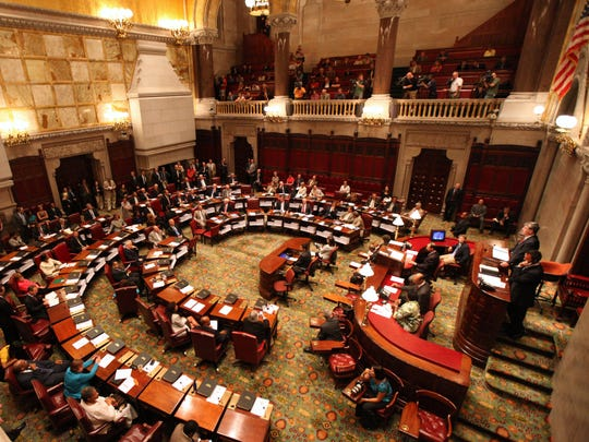 The New York state Senate chamber in the state Capitol.