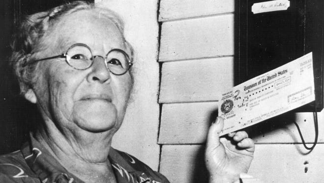 Ida May Fuller was the first Social Security beneficiary to receive a recurring monthly payment (beginning Jan. 31, 1940).