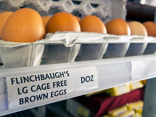 Cage-free brown eggs at Flinchbaugh's Orchard & Farm Market in Hellam Township. (Daily Record/Sunday News -- Paul Kuehnel)
