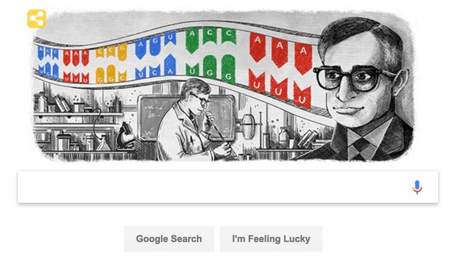 The Google Doodle in honor of Har Gobind Khorana, who won the Nobel Prize for his research on genes.