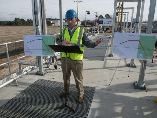 Salisbury Mayor Jake Day speaks at a press event at the Salisbury Wastewater Treatment plant on Pemberton Drive on Tuesday, Jan. 16, 2018. One of the most successful aspects of the Chesapeake Bay cleanup has been Maryland's treatment plant upgrade program.