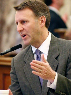 Senate Education Committee chairman Gray Tollison, R-Oxford, makes some technical amendments relating to the Mississippi Charter Schools Act of 2013, during floor debate in Senate chambers at the Capitol in Jackson, Miss., Tuesday, March 1, 2016. (AP Photo/Rogelio V. Solis)