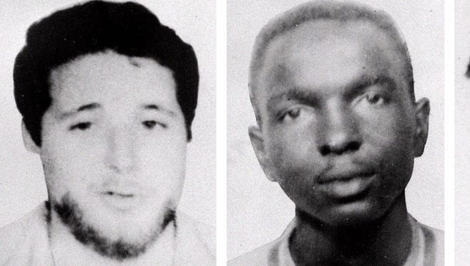 The FBI has turned over 40,000 pages of files on its investigation into the 1964 murders of three civil rights workers to Mississippi Attorney General Mike Moore. The three civil rights workers, seen here in undated file photos, from left, Michael Schwerner, James Chaney, and Andrew Goodman, disappeared near Philadelphia, Miss., June 21, 1964. Schwerner and two others were later found buried in an earthen dam in rural Neshoba County. These photographs, released by the FBI in, 1964, were used in the search for the three men.