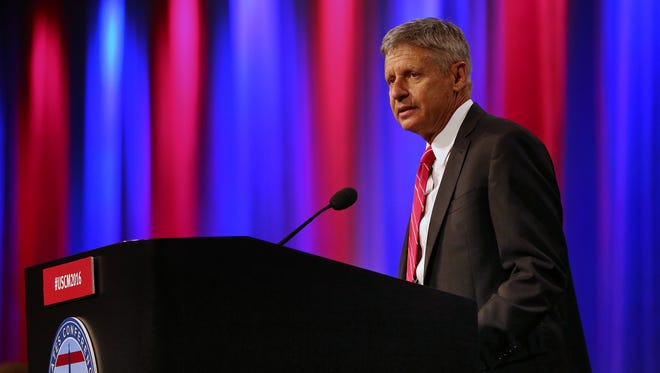 Libertarian presidential nominee Gary Johnson speaks at The United States Conference of Mayors on Monday at the JW Marriott in Indianapolis.
