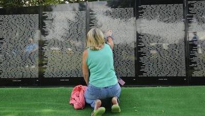 A traveling replica of the Vietnam War Memorial on display in Wausau in 2008.
