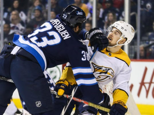 USP NHL: NASHVILLE PREDATORS AT WINNIPEG JETS S HKN WPG NSH CAN MA