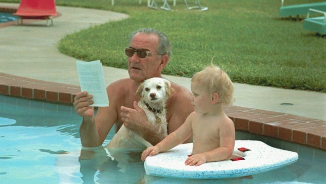 President Lyndon Johnson attends to business while holding mixed breed Yuki and cooling off in the swimming pool with his grandson, Patrick Lyndon, 1968.
