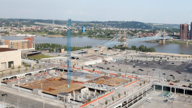 This portion of The Banks development in Cincinnati will be home to more than $150 million in investments with General Electric Co.'s new office building and nearly 300 apartments and 20,000 square feet of retail being built.