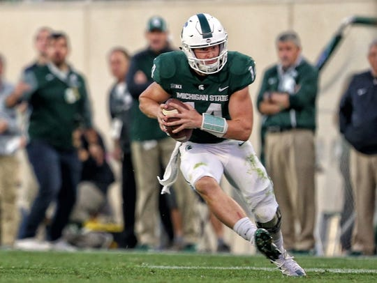 Michigan State quarterback Brian Lewerke.