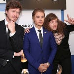 Anders Holm, Justin Bieber and Blake Anderson attend The Comedy Central Roast of Justin Bieber at Sony Pictures Studios on March 14, 2015 in Los Angeles, California.