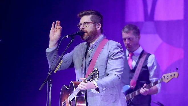 Colin Meloy, left, and Nate Query perform with the Decemberists Tuesday at the Murat Theatre in Old National Centre.