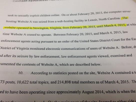 Court documents reveal FBI operation in Virginia.