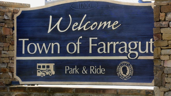 A sign welcomes people to the Town of Farragut. FILE/MICHAEL PATRICK/NEWS SENTINEL