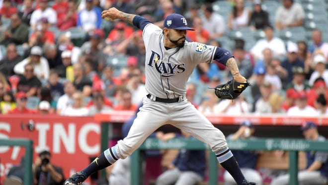 """Rays """"starting"""" pitcher Sergio Romo delivers in the first inning against the Angels on Sunday."""