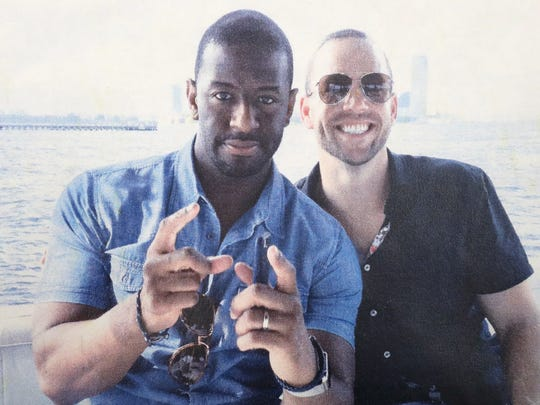 A photo obtained by the Democrat shows Tallahassee Mayor and Democratic gubernatorial candidate Andrew Gillum and former lobbyist Adam Corey posing together for a snapshot on a boat ride in New York Harbor near the Statue of Liberty in August 2016. It was one of several events that weekend arranged for Gillum by Corey and Mike Miller, a purported undercover agent posing as a developer from Atlanta. Miller was also on the boat ride but is not shown in this photo. Mike Sweets, another suspected undercover agent who claimed to be a medical marijuana entrepreneur, was also on the boat.