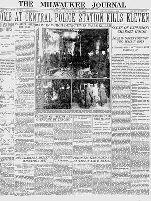 The front page of The Milwaukee Journal with stories of the bombing.