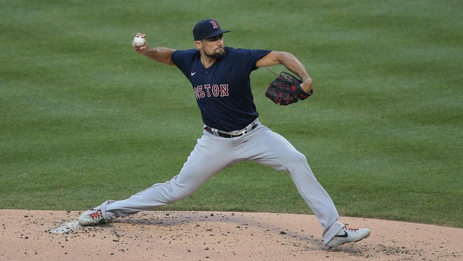 Red Sox starting pitcher Nathan Eovaldi pitches against the New York Mets Wednesday at Citi Field.