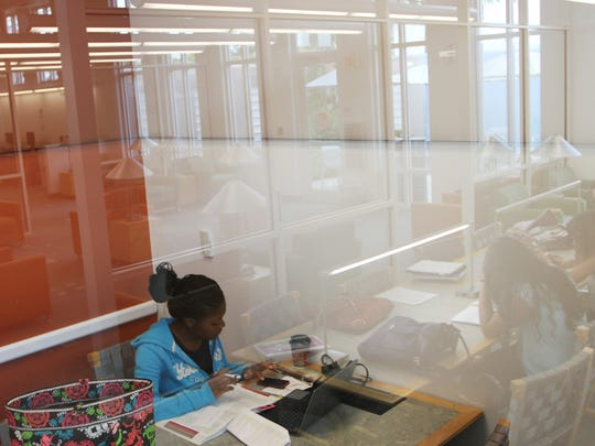 Kwametra Schley uses the Northwest Regional Library in Cape Coral to work on homework Tuesday.