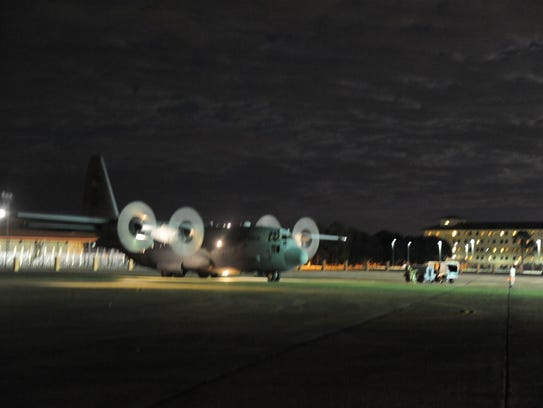 The first of eight new C-130 cargo aircraft arrives