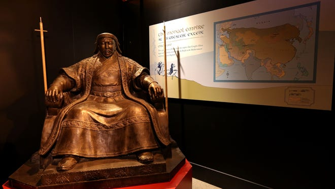 A replica of the monumental public statue of Genghis Khan which dominates Ulaanbaatar's central square.