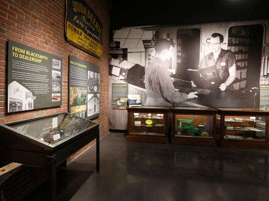 A display offers nuggets of history in the new John Deere Tractor and Engine Museum in Waterloo last week.