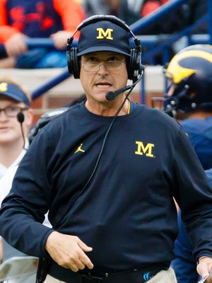 Michigan coach Jim Harbaugh on the sidelines of the Wolverines' game against Central Florida on Sept. 10, 2016.