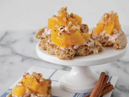Peaches and Cream Waffle Bites