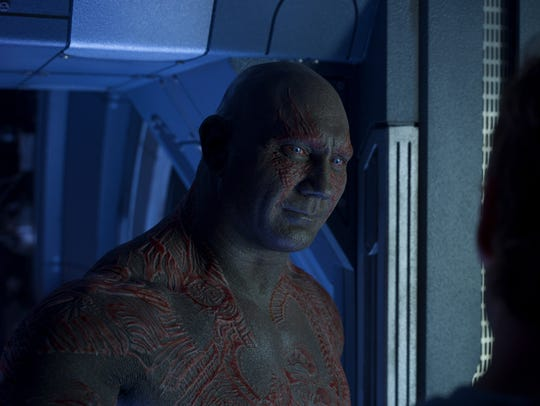 "Dave Bautista cracks a smile as Drax in ""Guardians of the Galaxy Vol. 2."""