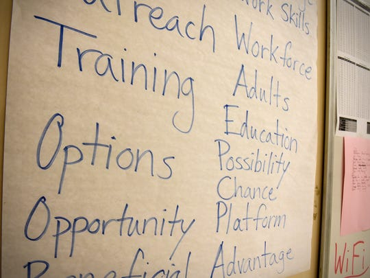 Principals and goals for an adult education course are posted on the board Wednesday, Aug. 16, at the Coleman Co. Inc. in Sauk Rapids.