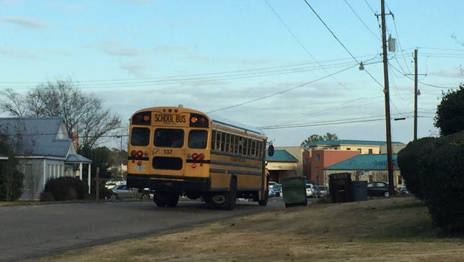 This school bus was involved in an accident when a car allegedly pulled out in front of it. One student was injured, but the injuries are not believed to be serious.