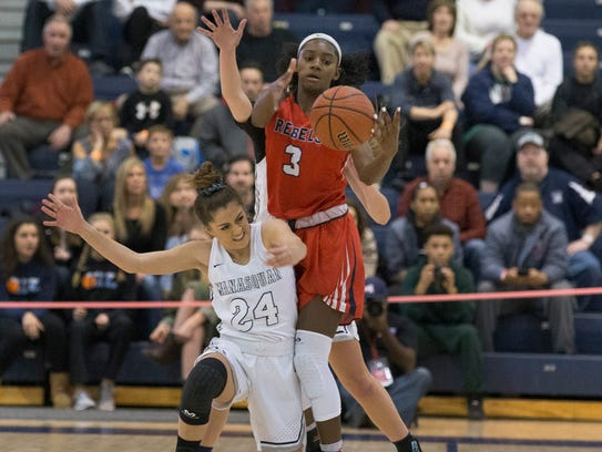 Saddle River's Jaida Patrick steals ball as she battles