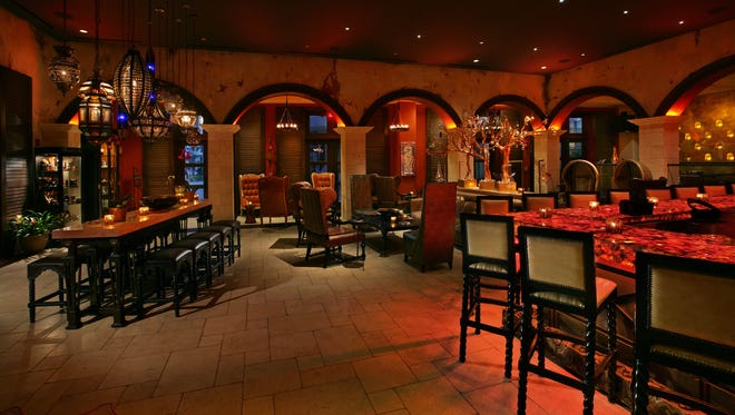The interior of Burn by Rocky Patel cigar and cocktail lounge in Naples, Fla.