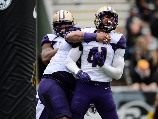 Washington linebacker Travis Feeney leads the Huskies with 8 1/2 tackles for loss and 4 1/2 sacks.