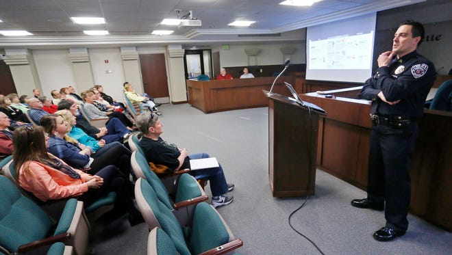 Sgt. Scott Galloway of Lafayette Police Department leads an outreach forum on crime prevention Tuesday, March 29, 2016, in the Lafayette City Council Chambers. Calloway stressed a city wide response to public safety adding that he wants the community to be the eyes and ears of the police department.