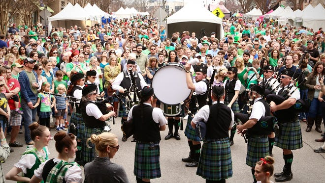 A past Music City Irish Fest with Pipe and Drum performance